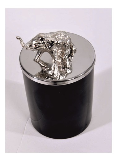 Lyn Home & Decor Gümüş Fil Tepelikli Siyah Bardak Mum Siyah